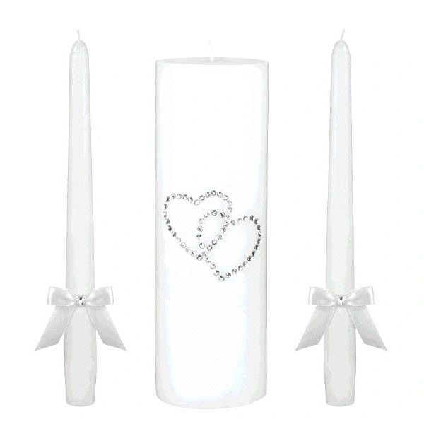 White Hearts Unity Candle Set, 3pc