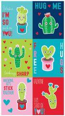 Cactus Valentine Cards w/Puffy Sticker, 6ct