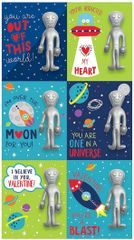 Alien Valentine Cards w/ Stretchy Figure, 6ct