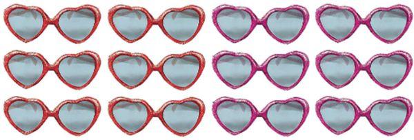 Heart Glitter Plastic Sunglasses, 12ct