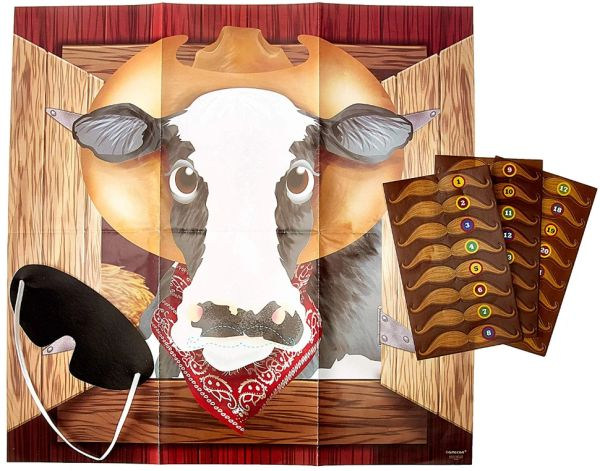 Pin The Moustache On The Cow Game