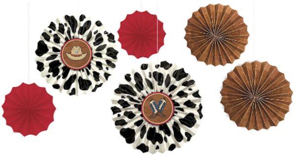 Western Paper Fan Decorations, 6ct