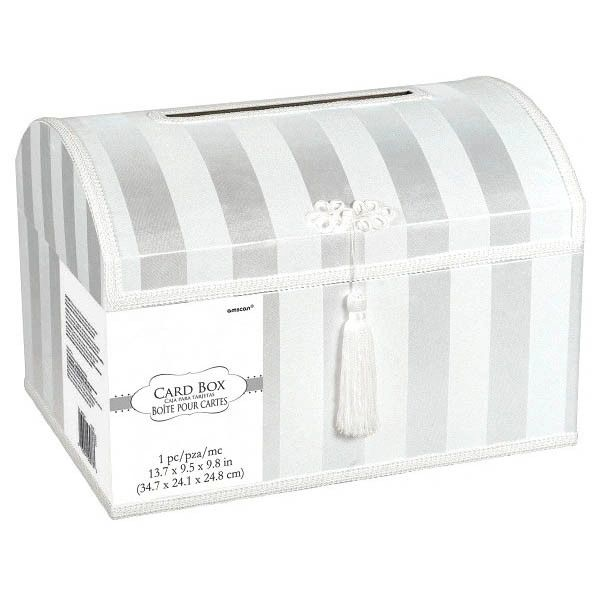 White Striped Wedding Card Holder Box