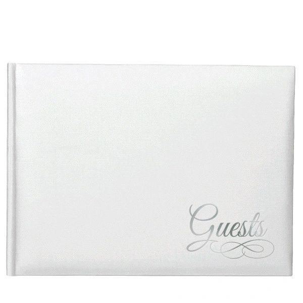 White Guest Book w/ Silver Detail