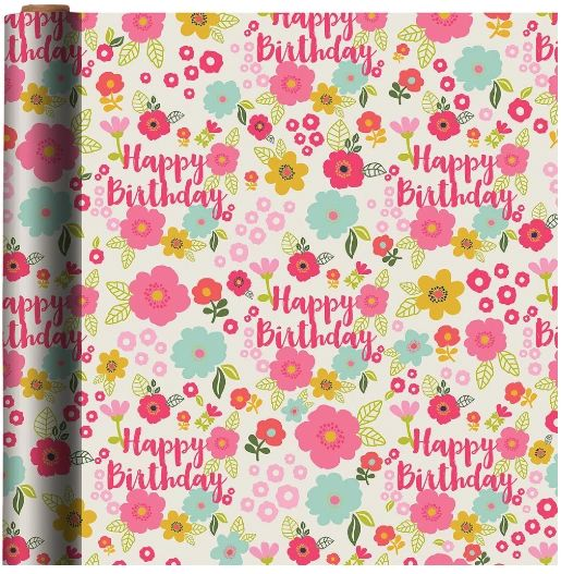 Floral Birthday Gift Wrap, 5ft