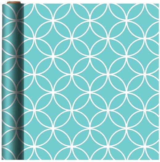 Printed Quatrefoil Jumbo Gift Wrap - Robin's Egg Blue w/ Hang Tab, 16ft