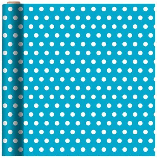 Polka Dot - Caribbean Printed Jumbo Gift Wrap w/Hang Tab, 16ft