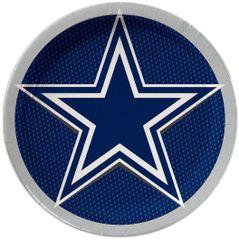 "Dallas Cowboys Round Lunch Plates, 9"" - 8ct"