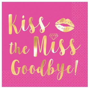 Kiss The Miss Goodbye Beverage Napkins, 16ct