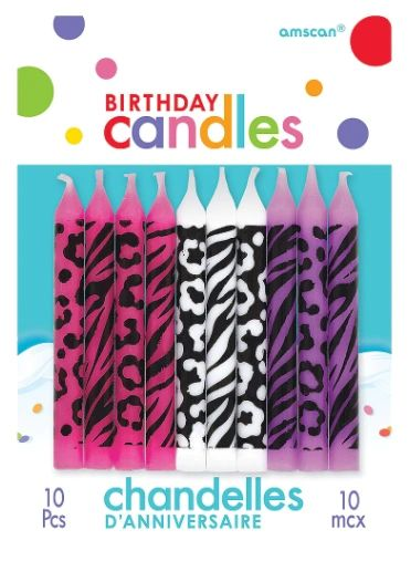 Animal Print Birthday Candle Assortment