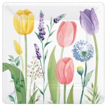 """Tulip Garden Square Plates, 7"""" - 8ct"""