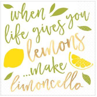 Lemons Hot-Stamped Beverage Napkins, 16ct