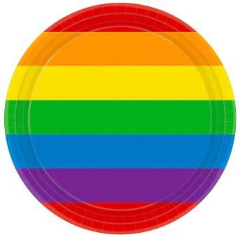 "Rainbow Round Dessert Plates, 7"" - 8ct"