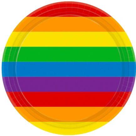 "Rainbow Round Plates, 9"" - 8ct"