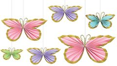 Butterfly Fan Decorations, 6ct