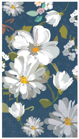 Guest Towel - Navy Daisies, 16ct