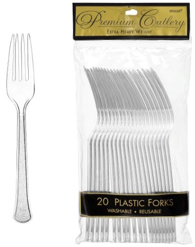 Clear Premium Heavy Weight Plastic Forks 20ct