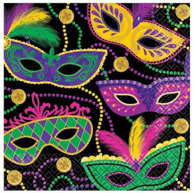 Mardi Gras Masks Luncheon Napkins, 16ct