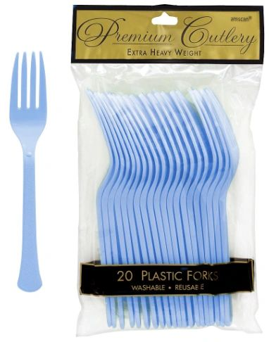 Pastel Blue Premium Heavy Weight Plastic Forks, 20ct