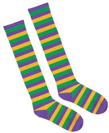 Mardi Gras Striped Knee Socks