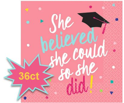 She Believed She Could Beverage Napkins, 36ct