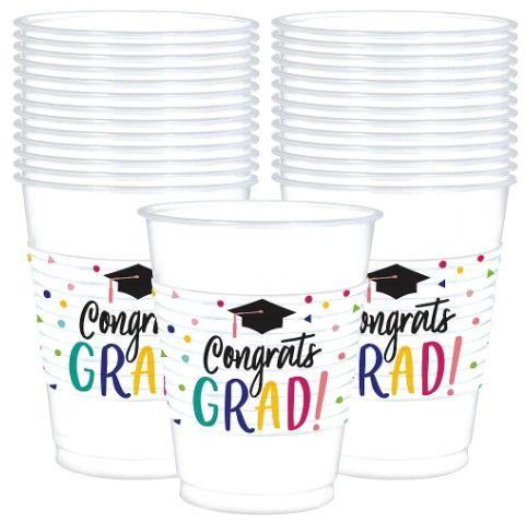 Yay Grad Printed Plastic Cups, 16oz - 25 ct.