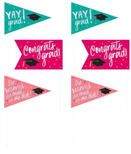 Yay Grad Foil Pennant Picks, 6ct