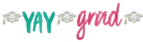 Yay Grad Glitter Script Letter Banner, 12ft