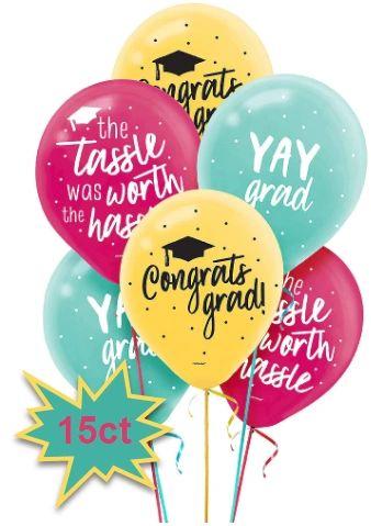 Yay Grad Printed Latex Balloons, 15ct