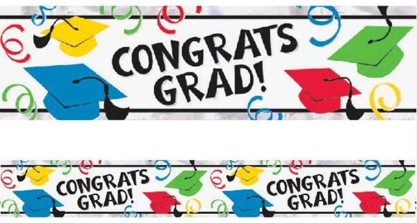 Multicolor Graduation Foil Banner, 9ft