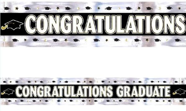 Graduation Foil Banner - Black, White, Silver, Gold, 9ft