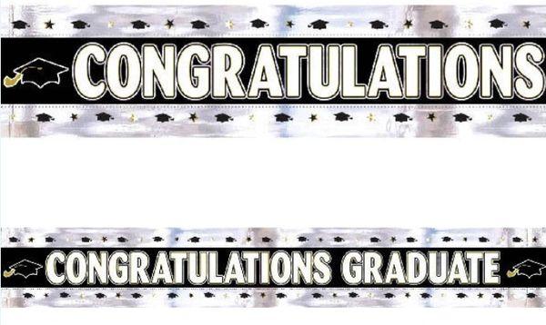 Graduation Foil Banner - Black, White, Silver, Gold, 9ft