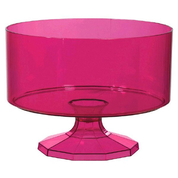 Small Bright Pink Plastic Trifle Bowl & Pedestal