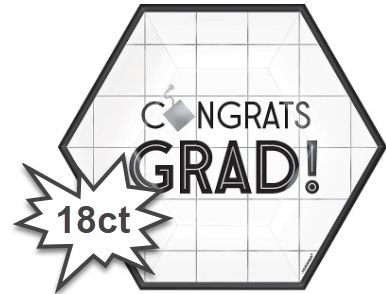 "Grad Grid Hexagon Dessert Plates, 7"" -18ct"
