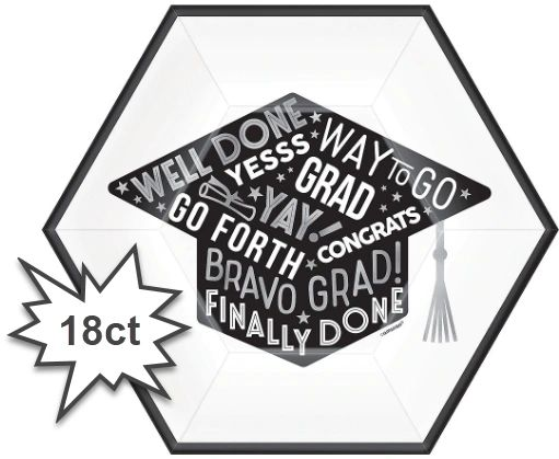 "Grad Grid Hexagon Lunch Plates, 9"" - 18ct"