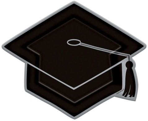 "Grad Cap Shaped Plates, 10 1/2"" - 8ct"