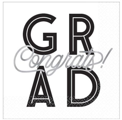 Grad Grid Hot Stamped Luncheon Napkins, 16ct