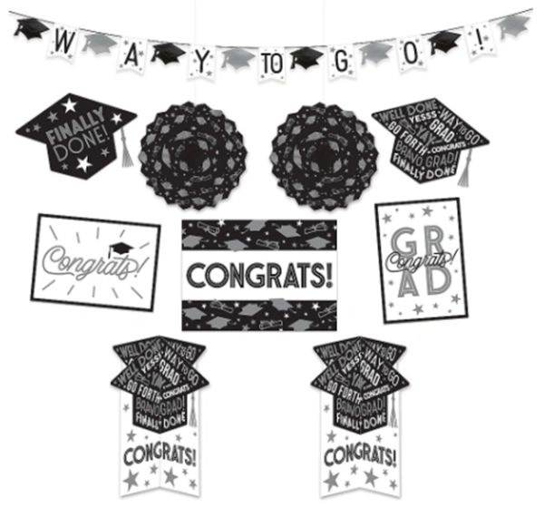 Grad Grid Black and White Room Decorating Kit. 10pc