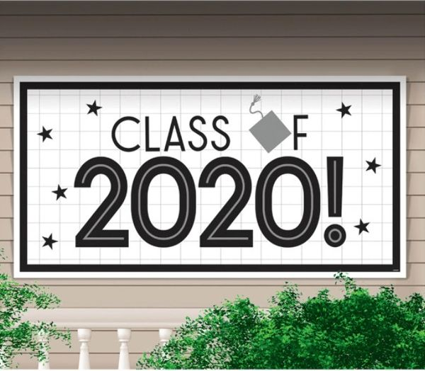 """2020"" Grad Grid Large Horizontal Banner, 65"""