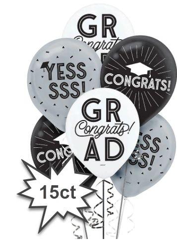 Grad Grid Printed Latex Balloons, 15ct