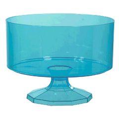 Small Caribbean Blue Plastic Trifle Bowl & Pedestal