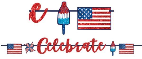Celebrate USA Glitter Letter Banner, 12ft