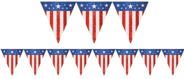Red, White & Blue Canvas Pennant Banner, 9ft