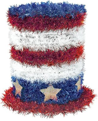Patriotic 3-D Tinsel Mini Top Hat Decoration, 6""
