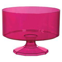 Large Bright Pink Plastic Trifle Bowl & Pedestal