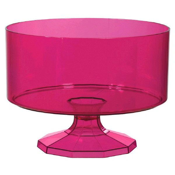 Large Bright Pink Plastic Trifle Bowl & Pedestal