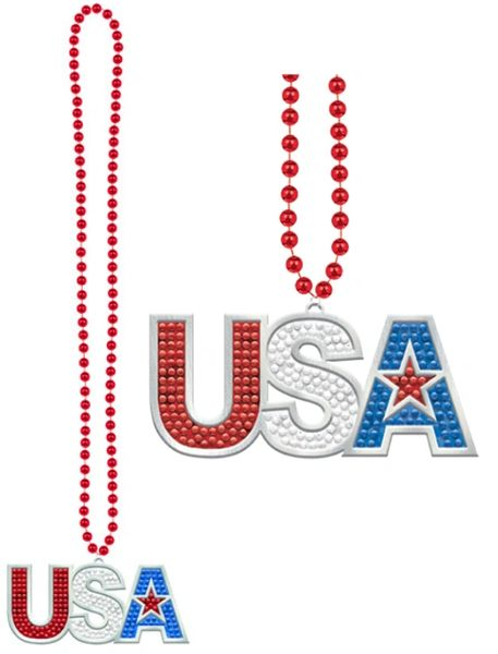 USA Beaded Bling Necklace, 36""
