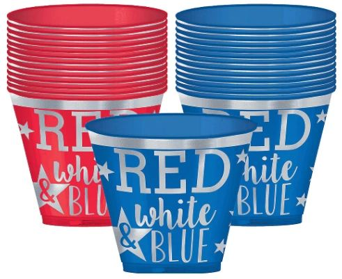 Red & Blue Hot Stamp Plastic Tumblers, 9oz -30ct
