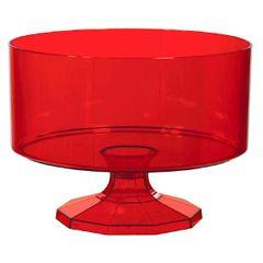 Large Red Plastic Trifle Bowl & Pedestal