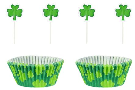 St Patrick's Day Cupcake Cases w/ Picks, 48ct
